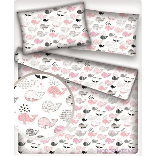 Tkanina bawełniana różowe i szare wieloryby
