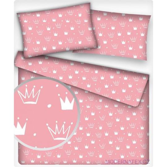 Tkanina bawełniana Korony białe na różowym tle