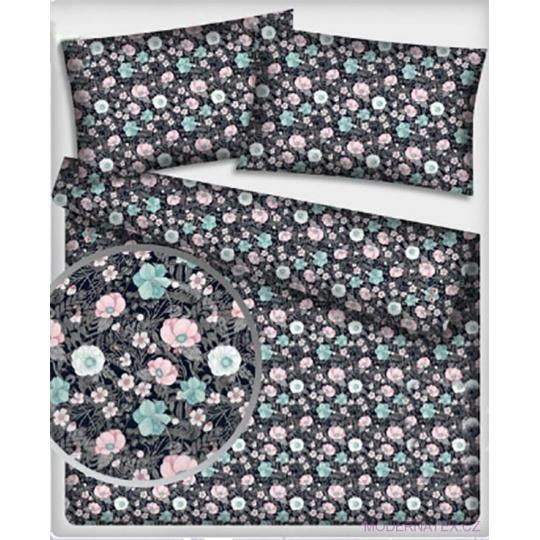 Tkanina bawełniana z wzorem różowych i niebieskich kwiatów na czarnym tle