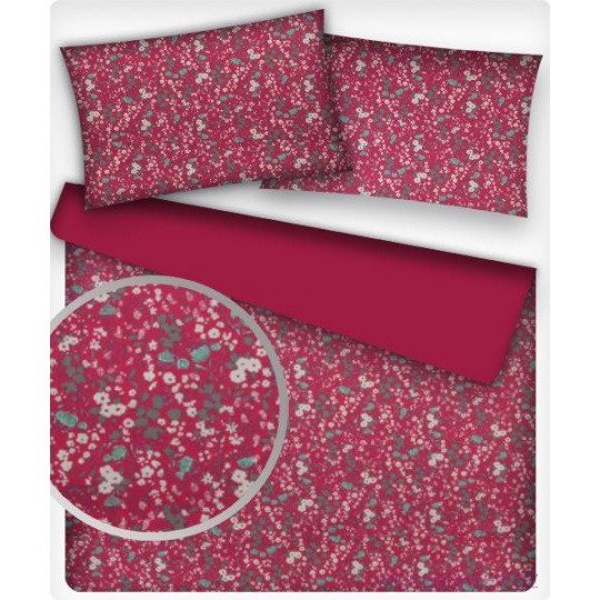 Tkanina bawełniana Mini kwiaty na czerwonym tle