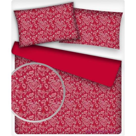 Tkanina bawełniana wzór Serca GEO na czerwonym tle
