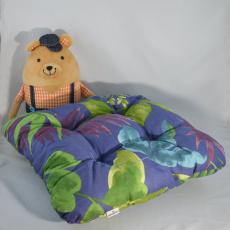 Poduszka siedziska wzór dżungli na granatowym tle, 38x38x4 cm
