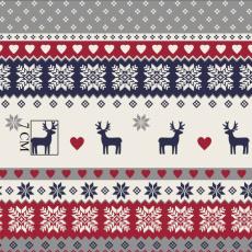 Tkanina bawełniana wzór świąteczny szary z jelonkiem