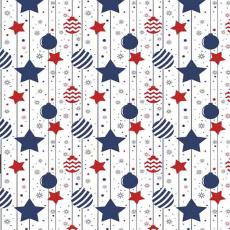 Tkanina bawełniana wzór bombki świąteczne z niebieskimi gwiazdkami