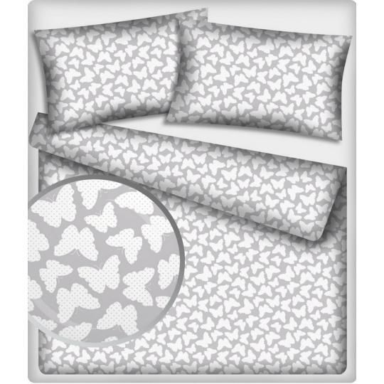 Tkanina bawełniana wzór białe motyle na szarym tle