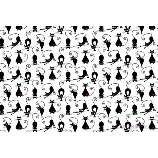 Tkanina flanela czarne koty na białym tle