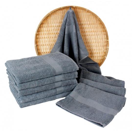 Szary ręcznik frotte Darsi - 50x100 cm