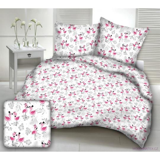 Tkanina bawełniana wzór różowy Flamingo na białym tle