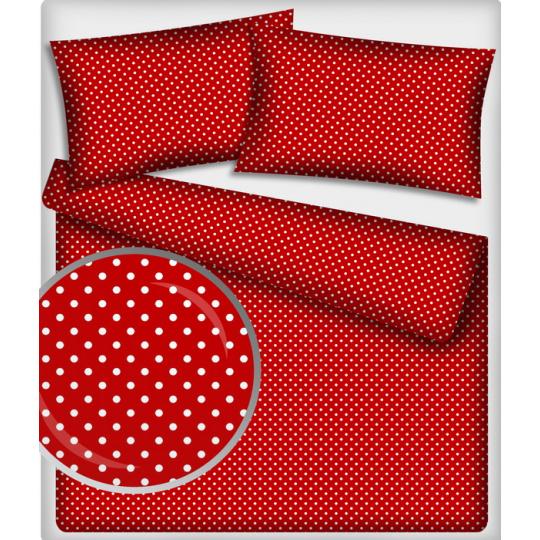 Tkanina bawełniana Białe groszki 2 mm  na czerwonym tle