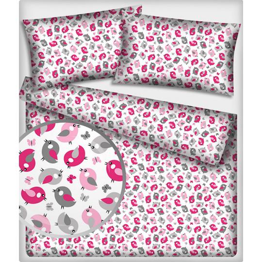 Tkanina bawełniana wzór różowo-szare ptaki na białym tle