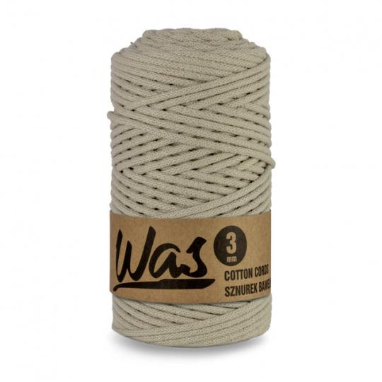 Sznurek bawełniany 3mm, 100m Jasny beżowy