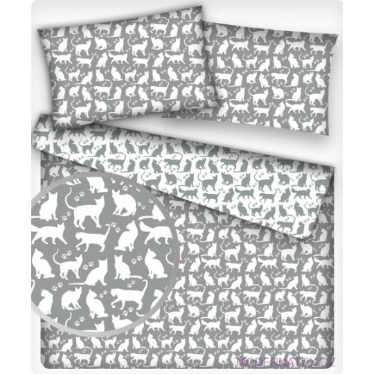 Tkanina bawełniana wzór białe koty na szarym tle