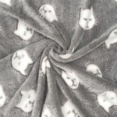 Minky Baranek wzór białe koty na szarym tle