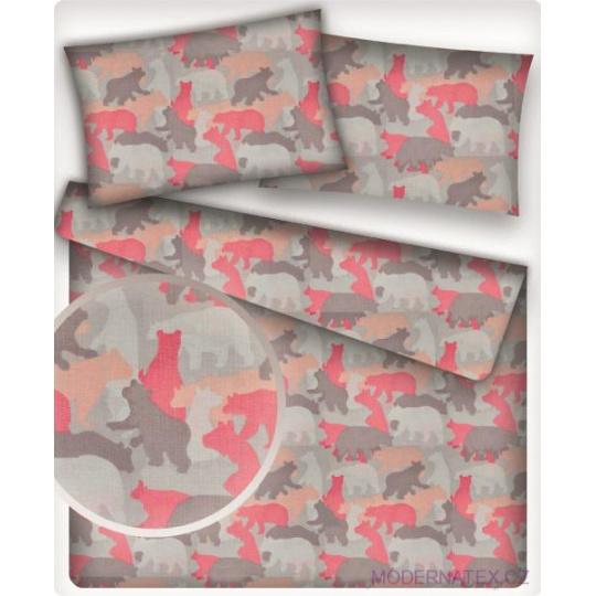 Tkanina bawełniana wzór kolorowe niedźwiedzie