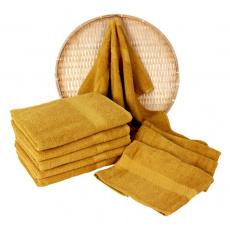 Musztardowy ręcznik kąpielowy Frotte - 70x140 cm