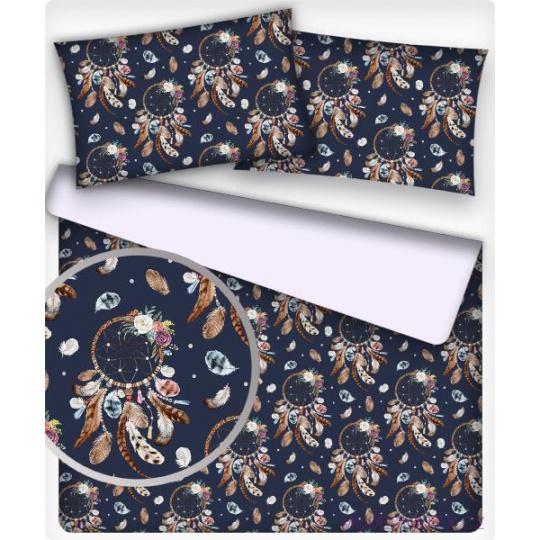 Tkanina bawełniana brązowe Łapacze snów na granatowym
