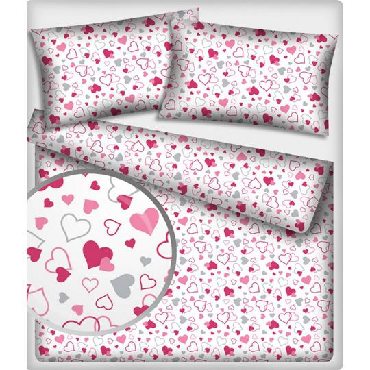Tkanina bawełniana wzór amarantowo-różowe serduszka