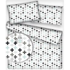 Tkanina bawełniana wzór plusy niebieski na białym tle 5 cm