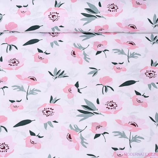 Tkanina bawełniana wzór różowe maki na białym tle