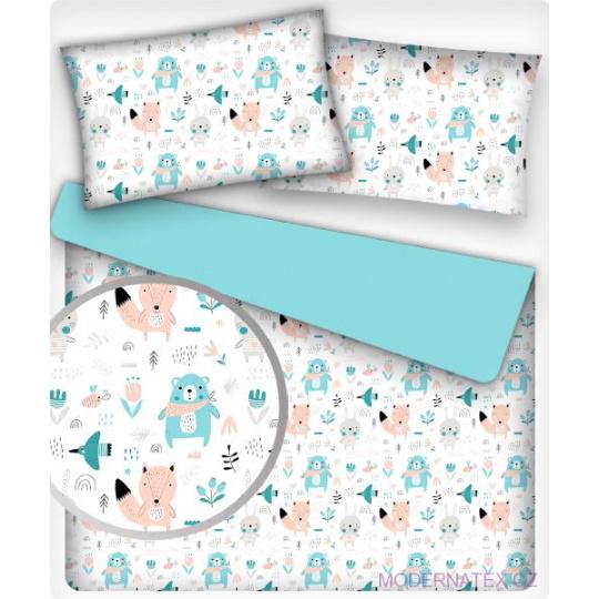 Tkanina bawełniana wzór niebieskie i różowe zwierzęta leśne