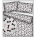 Tkanina bawełniana wzór czarno-białe koty na szarym tle