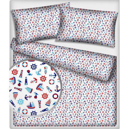 Tkanina bawełniana wzory morskie dla dzieci na bialym tle