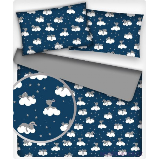 Tkanina bawełniana wzór szare króliczki na chmurach na granatowym tle