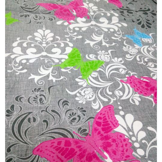 Tkanina bawełniana wzór motyla na szarym tle 372