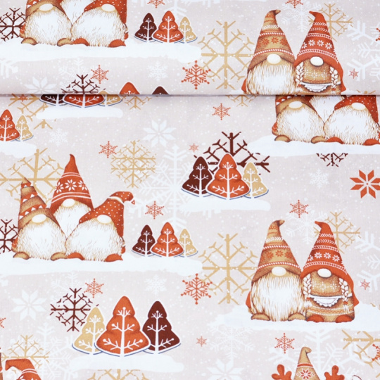 Tkanina bawełniana świąteczna Skrzaty pomarańczowe
