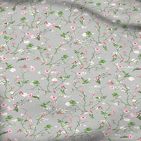 Tkanina bawełniana wzór pole kwiatowe na j.szarym tle