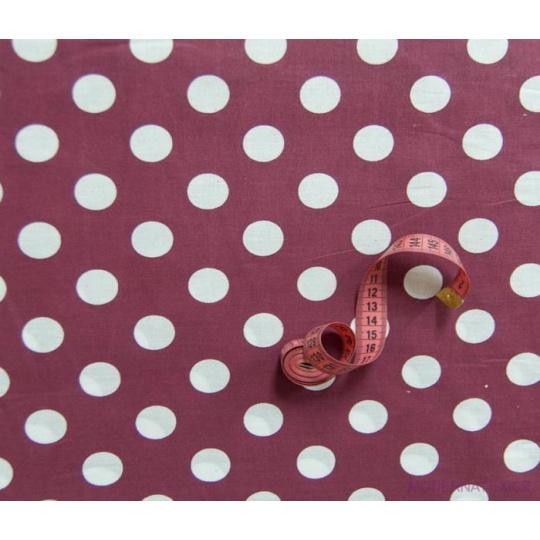 Tkanina bawełniana dekoracyjna Białe groszki 22 mm na ciemnoczerwonym tle