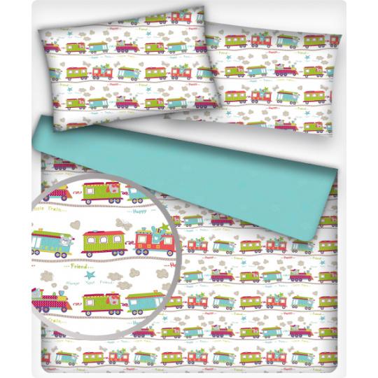Tkanina bawełniana wzór Wagony