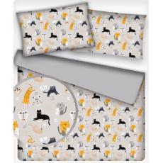 Tkanina bawełniana wzór kotki z mlekiem na beżowym tle