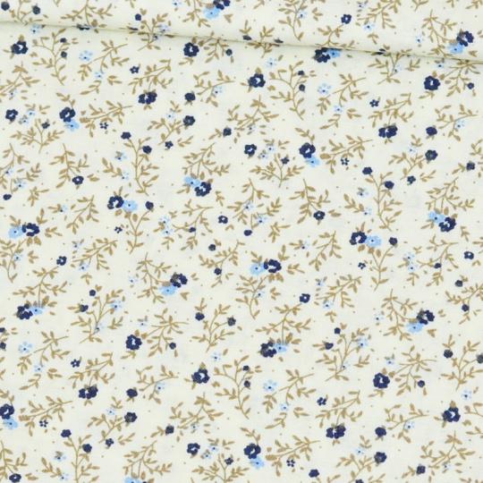 Tkanina bawełniana wzór niebieskie kwiaty