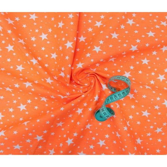 Tkanina bawełniana wzór białe gwiazdy na pomarańczowym tle VTE 1556-15