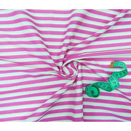 Tkanina bawełniana wzór różowo-białe paski