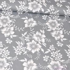 Tkanina bawełniana wzór białe koronkowe kwiaty na szarym tle
