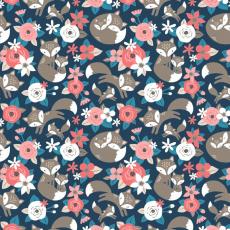 Tkanina bawełniana wzór Kwiaty różowy na granatowym tle 509 KT