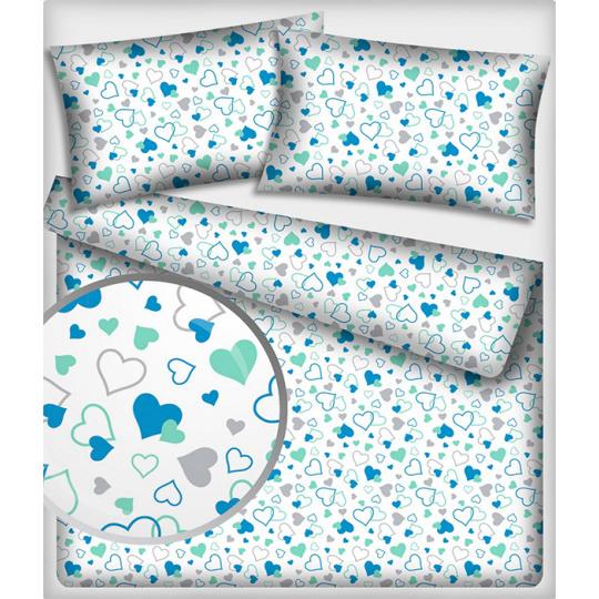Tkanina bawełniana wzór miętowe Niebieskie Serca