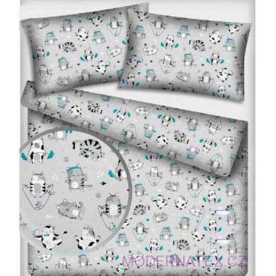 Tkanina bawełniana wzór szare koty na szarym tle