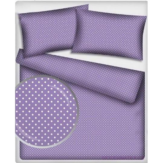 Tkanina bawełniana Białe groszki 7mm na fioletowym tle