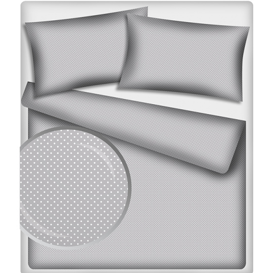 Tkanina bawełniana Białe groszki 4 mm na szarym tle