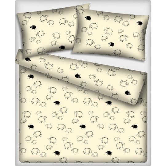 Tkanina bawełniana wzór białe i czarne owce