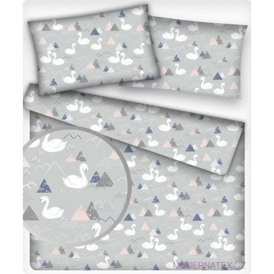 Tkanina bawełniana wzór białe łabędzie na szarym tle