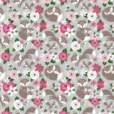 Tkanina bawełniana wzór Kwiaty różowy na szarym tle 508 KT