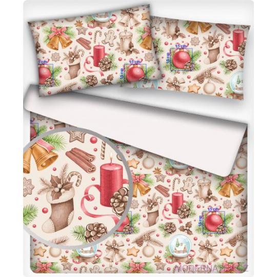 Tkanina bawełniana wzór ozdoby świąteczne