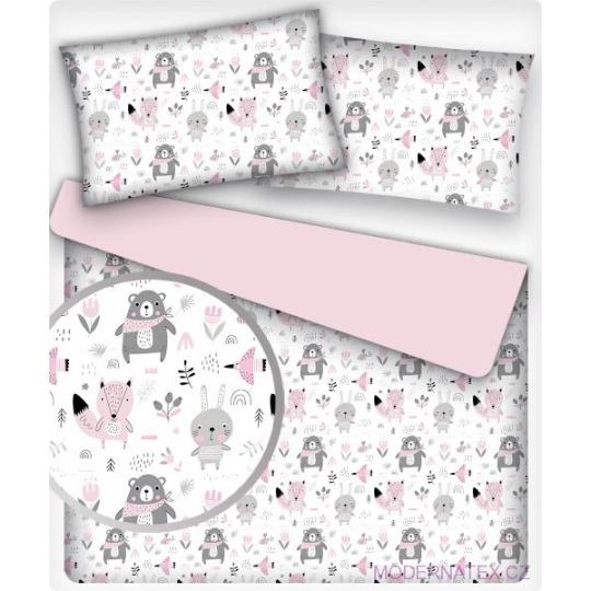 Tkanina bawełniana wzór różowe i szare zwierzęta leśne