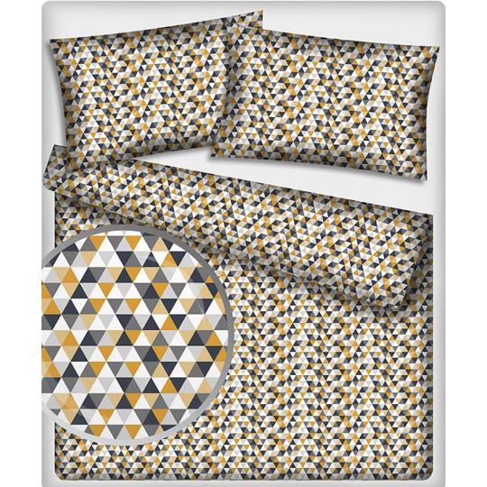 Tkanina bawełniana wzór żółto czarne trójkąty