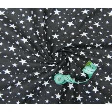 Tkanina bawełniana wzór białe gwiazdy na czarnym tle VTE 1556-7