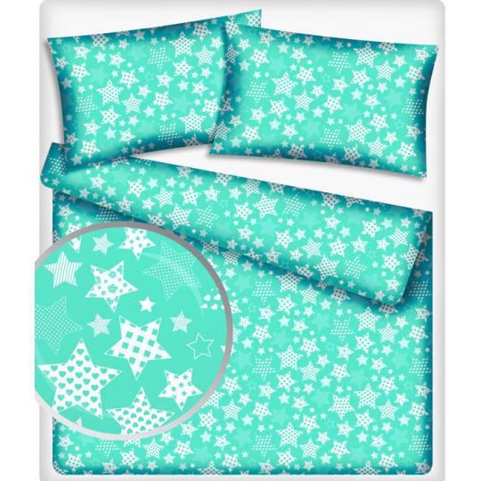 Tkanina bawełniana wzór stylowe gwiazdy na mentolowym tle